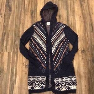 Beautiful Hippie Rose Cardigan with Hood Blue S